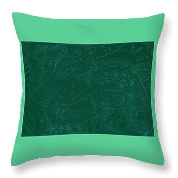 Moonfish Drawing Negative Green Chalk Throw Pillow