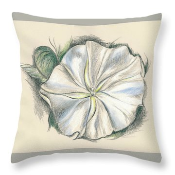 Moonflower Mixed Media Drawing Throw Pillow
