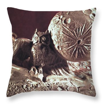 Moonhorse Detail Owl And Moon Throw Pillow by Dawn Senior-Trask