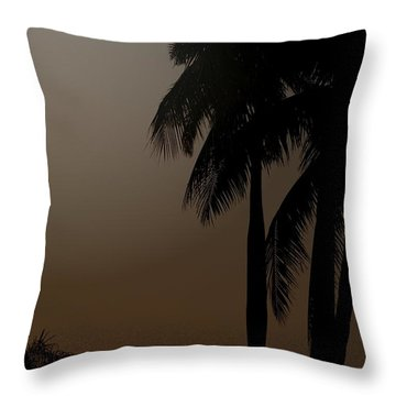 Moonlight And Palms Throw Pillow by Diane Merkle