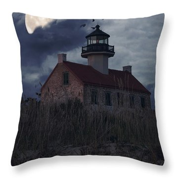 Moonlight At East Point Throw Pillow