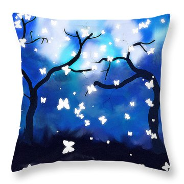 Moonlight Butterflies Throw Pillow