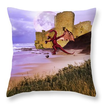 Moonlight Dragon Attack Throw Pillow by Diane Schuster