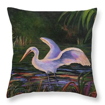 Moonlight Egret Throw Pillow