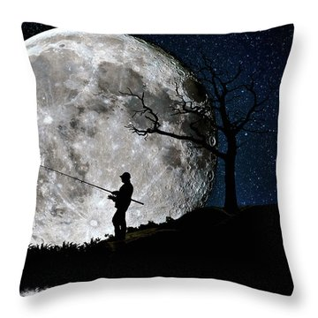 Moonlight Fishing Under The Supermoon At Night Throw Pillow by Justin Kelefas