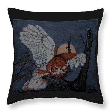 Moonlight Flight Throw Pillow by Sandra Maddox