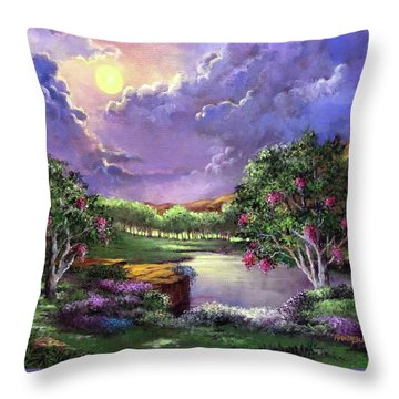 Moonlight In The Woods Throw Pillow by Randy Burns