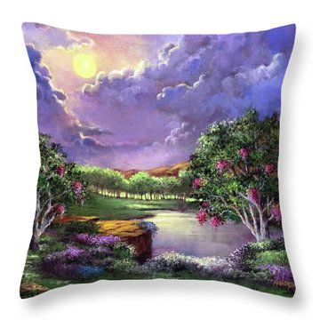 Moonlight In The Woods Throw Pillow