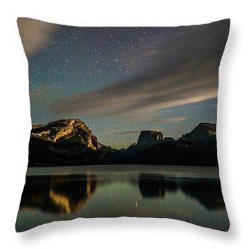Moonlight On Green River Lake Throw Pillow