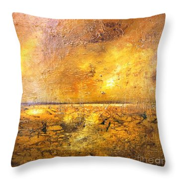 Moonlight On Mud Flats Throw Pillow
