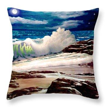Moonlight On The Beach Throw Pillow