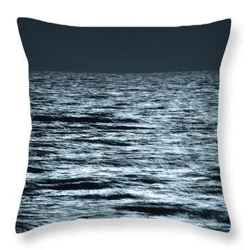 Moonlight On The Ocean Throw Pillow