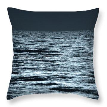 Moonlight On The Ocean Throw Pillow