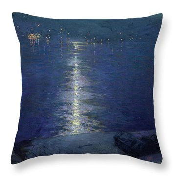Moonlight On The River Throw Pillow by Lowell Birge Harrison