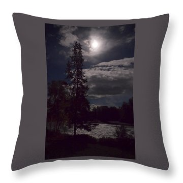 Moonlight On The River Throw Pillow