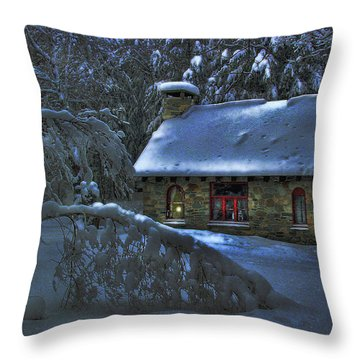 Moonlight On The Stonehouse Throw Pillow
