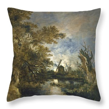 Moonlight On The Yare Throw Pillow