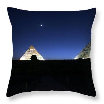 Moonlight Over 3 Pyramids Throw Pillow