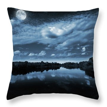 Moonlight Over A Lake Throw Pillow