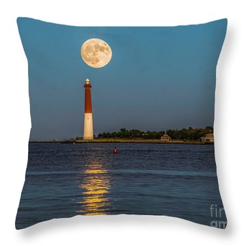 Moonlight Over Barnegat Lighthouse Throw Pillow by Nick Zelinsky