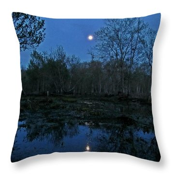 Throw Pillow featuring the photograph Moonlight Over The James by Digital Art Cafe