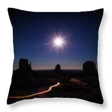 Moonlight Over Valley Throw Pillow