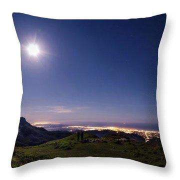 Moonlight Panorama Throw Pillow