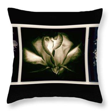 Moonlight Petals Triptych Throw Pillow