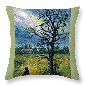 Moonlight Prowl Throw Pillow