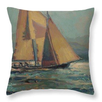 Moonlight Sail Throw Pillow