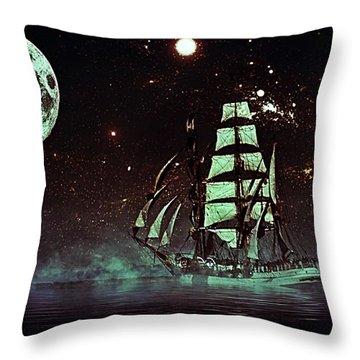 Moonlight Sailing Throw Pillow