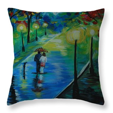 Throw Pillow featuring the painting Moonlight Stroll by Leslie Allen