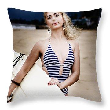 Moonlight Surfing Throw Pillow