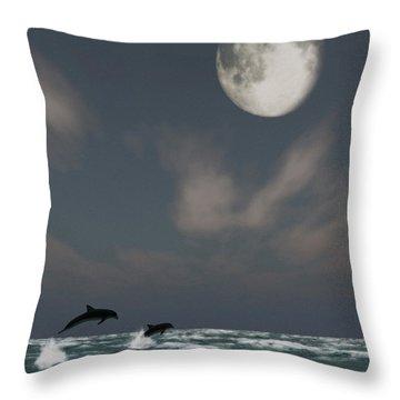 Moonlight Swim Throw Pillow by Richard Rizzo