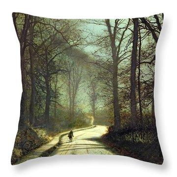 Moonlight Walk Throw Pillow by John Atkinson Grimshaw