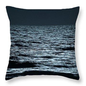 Moonlight Waves Throw Pillow