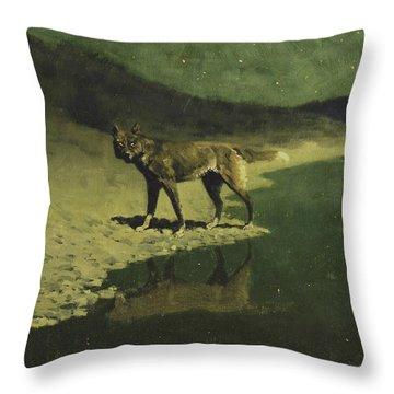 Moonlight, Wolf Throw Pillow