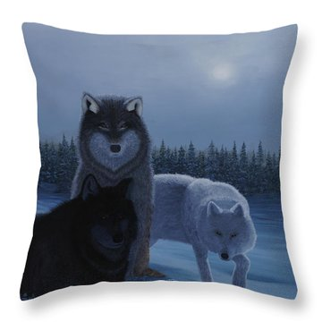 Moonlight Wolves Throw Pillow