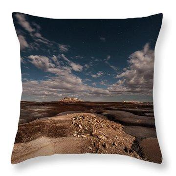 Moonlit Badlands Throw Pillow