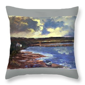Moonlit Beach Throw Pillow
