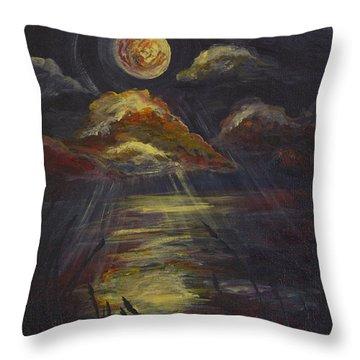 Moonlit Beach Guam Throw Pillow