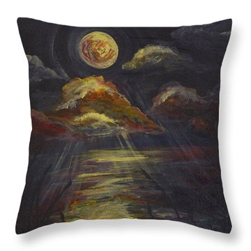 Moonlit Beach Guam Throw Pillow
