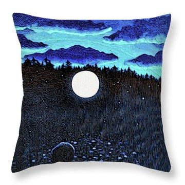 Moonlit Beach Throw Pillow