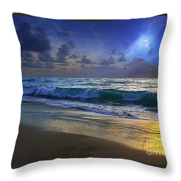 Moonlit Beach Seascape Treasure Coast Florida C4 Throw Pillow