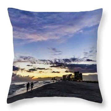 Moonlit Beach Sunset Seascape 0272c Throw Pillow