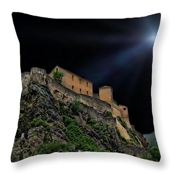 Moonlit Castle Throw Pillow