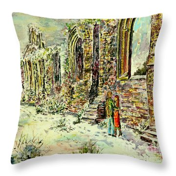 Moonlit Footsteps On Holy Ground Throw Pillow