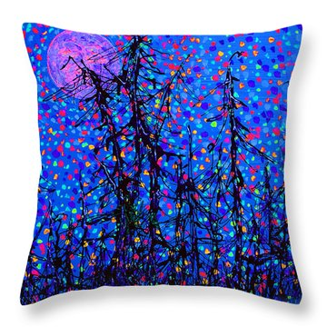 Moonlit Forest Throw Pillow