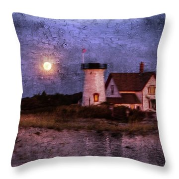 Moonlit Harbor Throw Pillow