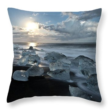 Moonlit Ice Beach Throw Pillow by Roddy Atkinson
